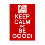 Keep Calm & be good Christmas postcard