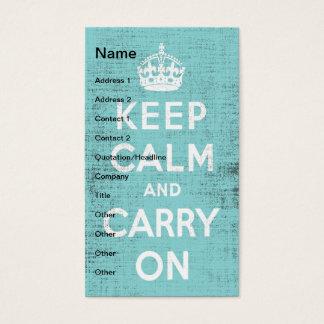 Keep Calm Blue Grunge Canvas Digital Art Business Card