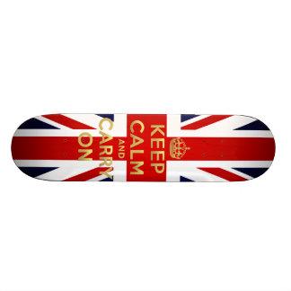 Keep Calm British Flag Union Jack GB Carry On Skateboard Deck