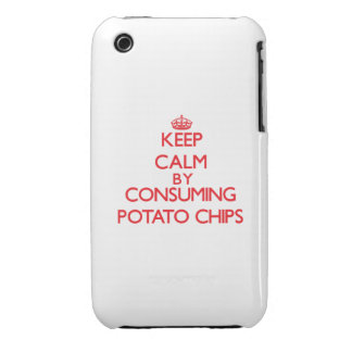 Keep calm by consuming Potato Chips iPhone 3 Cases