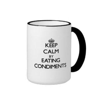 Keep calm by eating Condiments Ringer Mug