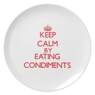 Keep calm by eating Condiments Plate