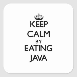 Keep calm by eating Java Square Sticker
