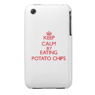 Keep calm by eating Potato Chips iPhone 3 Cases