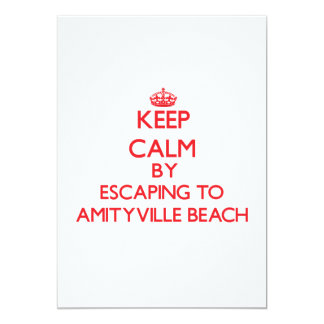 Keep calm by escaping to Amityville Beach New York Personalized Invitations
