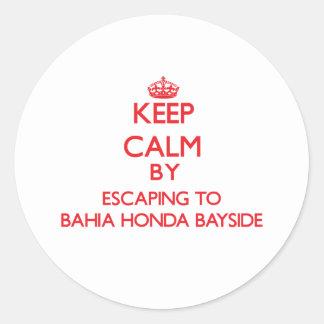 Keep calm by escaping to Bahia Honda Bayside Flori Round Stickers