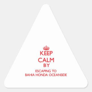 Keep calm by escaping to Bahia Honda Oceanside Flo Triangle Sticker