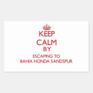Keep calm by escaping to Bahia Honda Sandspur Flor Rectangular Sticker