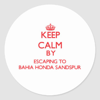 Keep calm by escaping to Bahia Honda Sandspur Flor Round Stickers