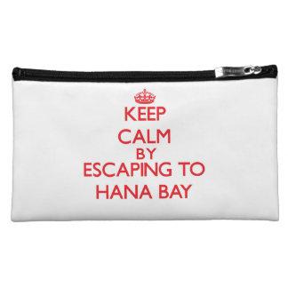 Keep calm by escaping to Hana Bay Hawaii Makeup Bags
