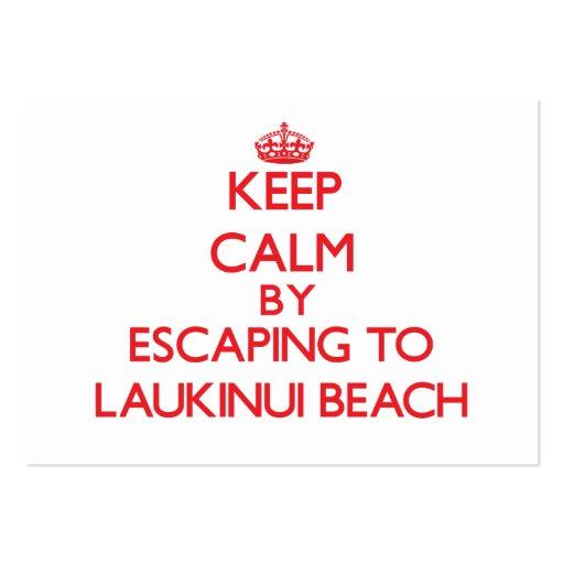 Keep calm by escaping to Laukinui Beach Hawaii Business Card Template