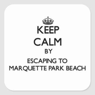 Keep calm by escaping to Marquette Park Beach Indi Stickers