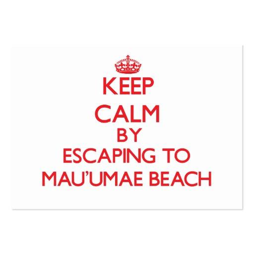 Keep calm by escaping to Mau'Umae Beach Hawaii Business Card
