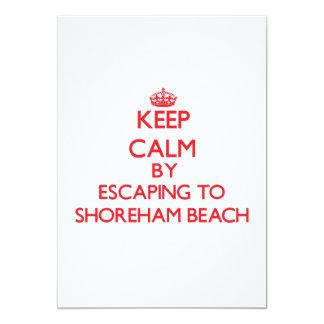 Keep calm by escaping to Shoreham Beach New York 13 Cm X 18 Cm Invitation Card