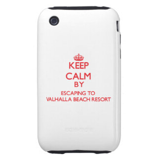 Keep calm by escaping to Valhalla Beach Resort Flo iPhone 3 Tough Cover