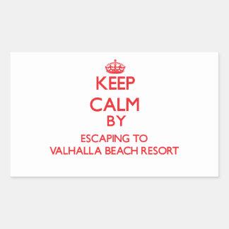 Keep calm by escaping to Valhalla Beach Resort Flo Rectangular Sticker