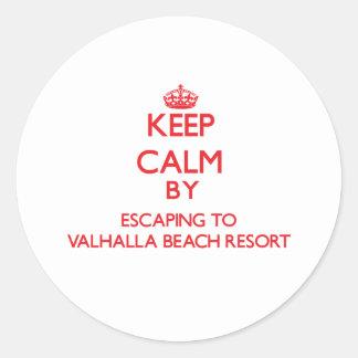 Keep calm by escaping to Valhalla Beach Resort Flo Round Sticker