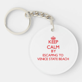 Keep calm by escaping to Venice State Beach Califo Double-Sided Round Acrylic Key Ring