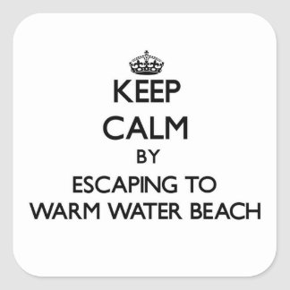 Keep calm by escaping to Warm Water Beach Wisconsi Square Stickers