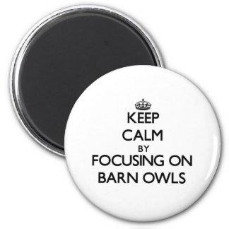 Keep Calm by focusing on Barn Owls 6 Cm Round Magnet