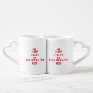 Keep Calm by focusing on Beef Couples Mug