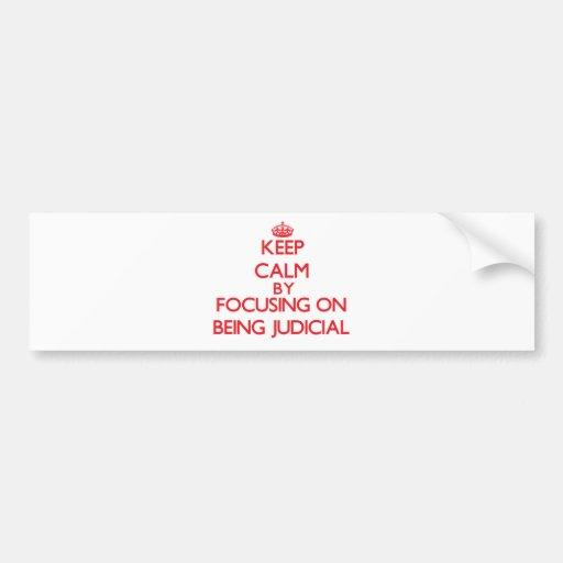 Keep Calm by focusing on Being Judicial Bumper Sticker