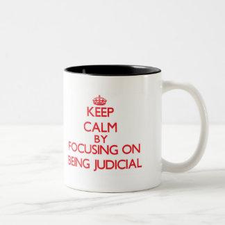Keep Calm by focusing on Being Judicial Coffee Mugs