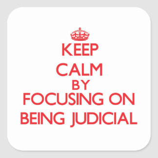 Keep Calm by focusing on Being Judicial Square Stickers