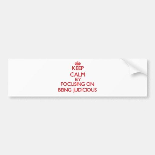 Keep Calm by focusing on Being Judicious Bumper Sticker