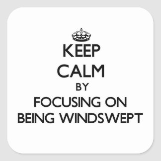 Keep Calm by focusing on Being Windswept Square Sticker