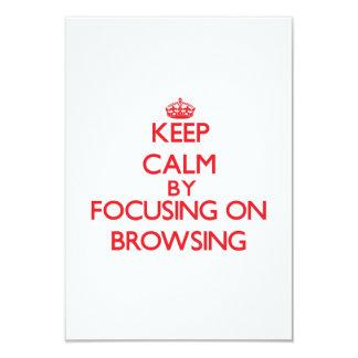 Keep Calm by focusing on Browsing 9 Cm X 13 Cm Invitation Card