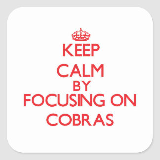 Keep Calm by focusing on Cobras Square Stickers