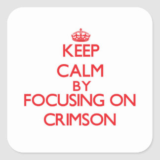 Keep Calm by focusing on Crimson Square Sticker