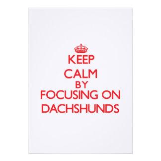 Keep Calm by focusing on Dachshunds Invitation