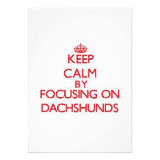 Keep Calm by focusing on Dachshunds Custom Invitation