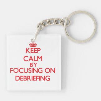 Keep Calm by focusing on Debriefing Keychain
