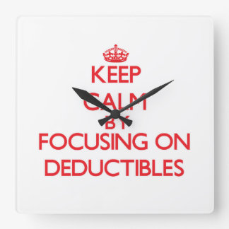 Keep Calm by focusing on Deductibles Wall Clock