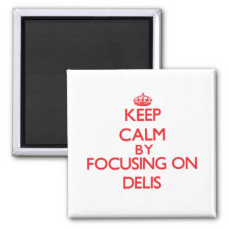 Keep Calm by focusing on Delis Refrigerator Magnets