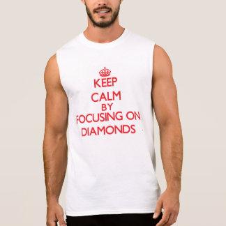 Keep Calm by focusing on Diamonds Sleeveless Shirts