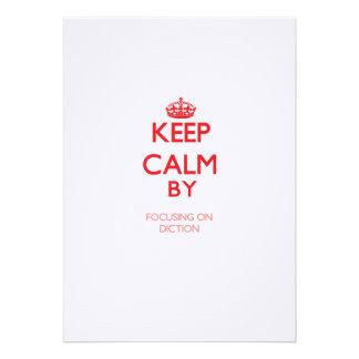 Keep Calm by focusing on Diction Custom Announcement