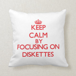 Keep Calm by focusing on Diskettes Throw Pillow