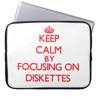 Keep Calm by focusing on Diskettes Laptop Sleeve
