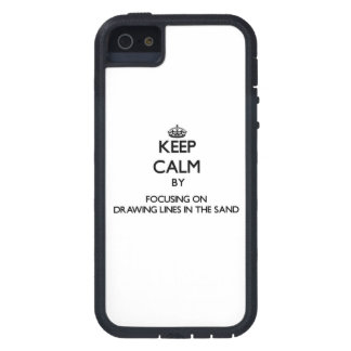 Keep Calm by focusing on Drawing Lines In The Sand iPhone 5 Cases