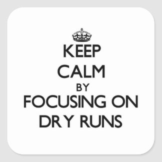 Keep Calm by focusing on Dry Runs Square Sticker