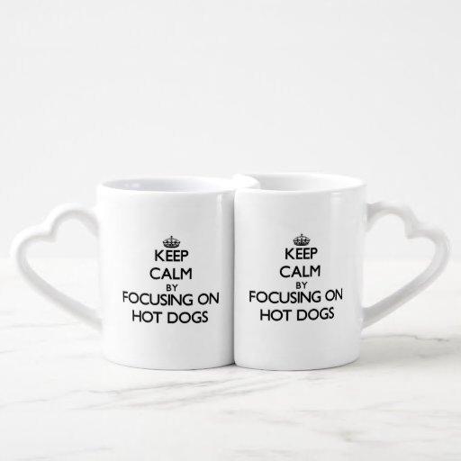 Keep Calm by focusing on Hot Dogs Lovers Mug Set