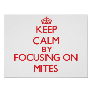 Keep calm by focusing on Mites Posters
