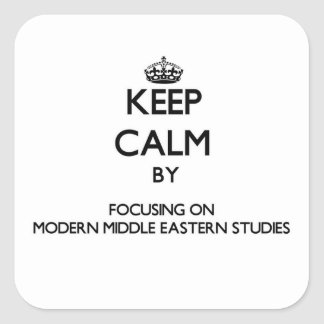 Keep calm by focusing on Modern Middle Eastern Stu Square Sticker