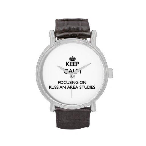 Keep calm by focusing on Russian Area Studies Wrist Watch