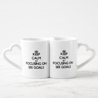 Keep Calm by focusing on See Goals Lovers Mug Set