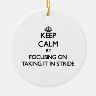 Keep Calm by focusing on Taking It In Stride Christmas Tree Ornaments